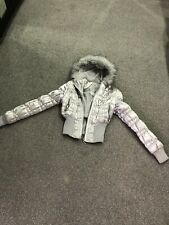 Ladies Silver Hoodie Padded Puffer Winter Coat Padded Jacket Size 10