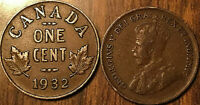 1932 CANADA SMALL 1 CENT COIN PENNY VG-F BUY 1 OR MORE ITS FREE SHIPPING!