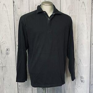 REI Long Sleeve Polo Collar Shirt 1/4 Zip grey Men Size L Organic Cotton Blend