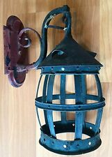 OLD VTG ANTIQUE WROUGHT IRON HANGING WALL MOUNT PORCH ELECTRIC SCONCE LIGHT