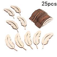 25pcs Laser Cut Wood Feather Embellishment Wooden Shape Craft Wedding Decor 3c