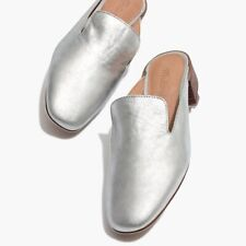 MADEWELL The Willa Loafer Mule in Metallic Silver Leather 9 1/2 NWOB S2