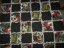 "Rag quilt blanket lap chair robe Movie Monsters  36"" x 48""  Dracula Mummy"