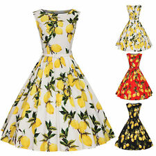 Women Vintage Lemon 50s 60s Rockabilly Swing Dress Housewife Pinup Sundress