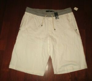 """CAVI mens SZ 2XL white with gray accent """"NWT"""" lightweight sweat athletic shorts"""