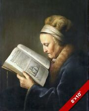 OLDER WOMAN READING THE BIBLE FRENCH PAINTING CHRISTIAN ART REAL CANVAS PRINT