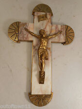 Quality Antique Crucifix , Marble , Brass mounted , Cross , Jesus   ref 1310
