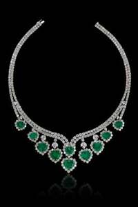 Features 10 Vivid Green Colombian Emerald With Brilliant CZ Engagement Necklace