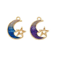 Lot of 16 Purple and Blue Enamel Metal Moon and Star Charms Pendants 20x15 mm