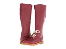 Dr-Martens Womens-Moya Tall Brogue Cherry Red Boots   US-6-EU-37-UK-4