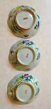 3 Antique Chinese Enameled Octagonal Porcelain Footed Bowls Bowl White Rooster