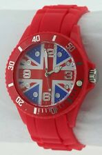 Ladies Gents unisex Fashion Union Jack Watch Red Silicone/Rubber 11D