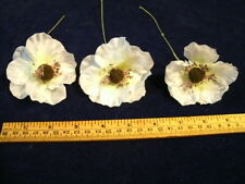 Vintage Millinery Organdy Hat Flower 3pc Kw White Ivory