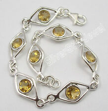 ".925 Solid Silver Real YELLOW CITRINE DECO Bracelet 7.7"" ADJUSTABLE"