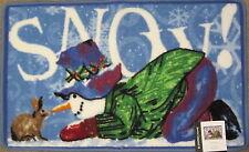 Blonder Home Snow Season Snowman Rabbit Christmas Holiday Bath Rug Mat