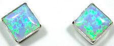6mm Blue Fire Opal 925 Sterling Silver Stud Post Earrings - Handcrafted in USA