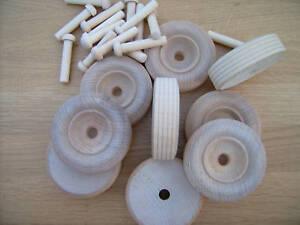 "10x Wooden toy wheels + axles. Truck wheels 50mm 2"""