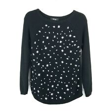 Style & Co Women's Stars Knit Sweater Black & White Petite Size Small PS