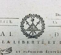 Rare Journal Révolution Française 1793 Danton Cuges les Pins Philippe d'Orleans