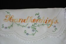 vintage embroidered HANDKERCHIEFS sachet pouch holder crocheted edge
