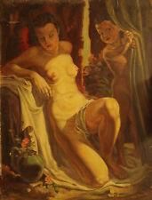 VENERE E CUPIDO - A.FISCHER - Dipinto originale a olio su cartone cm 40X53