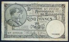 BELGIUM 5 FRANCS 29.4.1938 BANKNOTE  P 108a