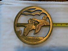 "Vintage Brass Trivet Wall Hanging Hot Plate Geese Ducks Flying Birds 7 3/8"" Diam"