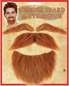 Ginger Beard, Moustache and Eyebrow Set Scottish Scotsman Hair Tash Fancy Dress