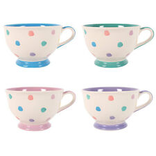 4 x Polka Splodge Design Ceramic Teacups Ethnically Sourced From Thailand