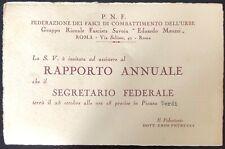 Roma Gruppo Rionale Fascista Edoardo Meazzi P.N.F. invito al Rapporto Annuale