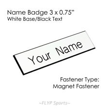 """Name Badge Tag Magnetic White/Black 3x0.75"""" Personalised Engraved Employee Cu..."""