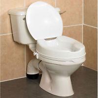 """Savanah Raised Toilet Seat with Lid 2"""", 4"""", 6"""". Elevated Toileting Aid."""