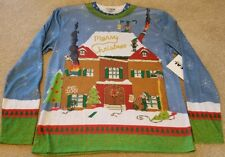 NEW Naughty Drunk Elves Ugly Christmas Sweater Shirt Faux Real Mens Medium M