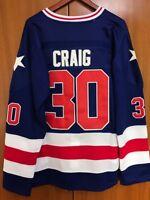 Ice Hockey 1980 Miracle On Ice Team USA Jim Craig 30 Hockey Jersey Blue S-XXXL