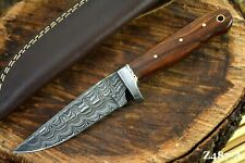 Custom Damascus Steel Hunting Knife Handmade With Walnut Handle (Z487-A)