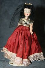Vintage Doll with Black Hair and Dressed in Maroon Satin and Black Veil 7 1/2""