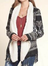 NWT HOLLISTER TOPS PATTERNED SHERPA LINED CARDIGAN BLACK PATTERN SIZE XS