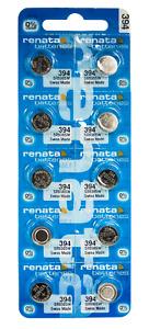 Renata 394 Watch Batteries SR936SW 10 Pack 0% Mercury, Silver Oxide, SHIPS FREE!