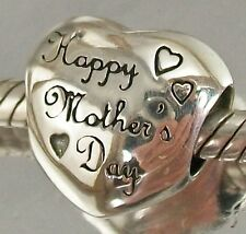 STERLING SILVER Happy Mothers Day LOVE HEART European slide CHARM BEAD oxidised