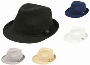 Mens Trilby Cotton Fedora Hat Twill Short Brim With Band