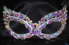 Silver Marquise and Round AB Rhinestone Masquerade Mask Mardi Gras Party