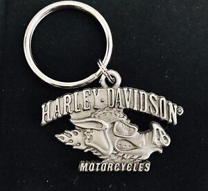 PEWTER HARLEY-DAVIDSON MOTORCYCLE HOG HEAD BIKER SILVER METAL KEYCHAIN
