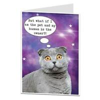 Funny Birthday Card Cat Pet Owner Lover For Men & Women Mum Dad Friends