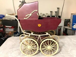 Vintage Daniela Toy Baby Carriage Burbandy Plastic with Lace Curtains