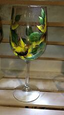 hand painted sunflower wine glasses - set of 2