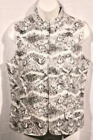 Chico's Sz 0 Small Snakeskin White Black Silver Grey Gray Zip Vest Lined Coated