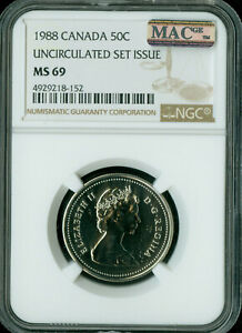 1988 CANADA 50 CENTS NGC MAC MS-69 PQ FINEST GRADE SPOTLESS,