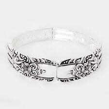 Spoon Stretch Bracelet Vine Design Handle Plain Metal SILVER Filigree Jewelry