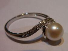 Anillos de joyería de oro blanco perla