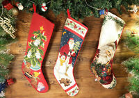 Hand Crafted Needlepoint Christmas Stocking Decorated Xmas Tree Santa Clause